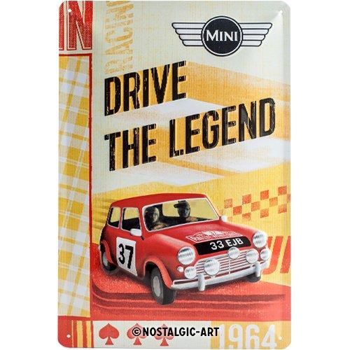 Nostalgic-Art Mini – Drive The Legend – Geschenk-Idee für Auto-Fans Blechschild, aus Metall, Bunt, 20 x 30 cm