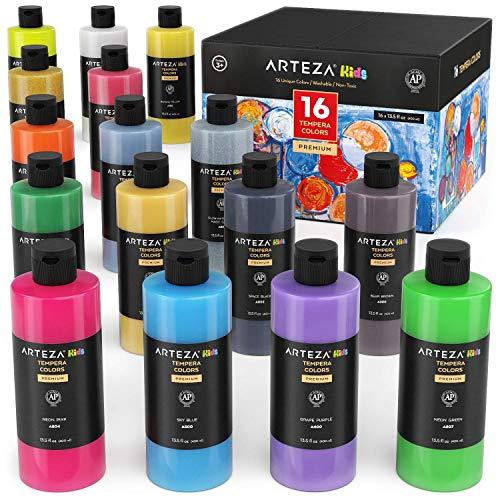 Arteza Témperas para niños | Botellas de 400 ml | Caja de 16 colores