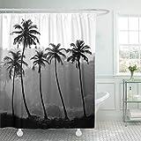 FimGGe Stoff Duschvorhang Haken Blau Strand Schwarz Weiß Palmen Silhouette Indien Bunte Scenic Tropical Sea Dekorativ-180cm * 200cm
