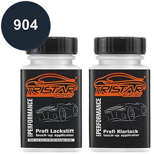 TRISTARcolor Autolack Lackstift Set für Mercedes/Daimler Benz 904 Dunkelblau Basislack Klarlack je 50ml