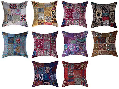 Jaipurtextilehub - Set di 10 federe in Cotone Multicolore JTH per Cuscini Patchwork, Cuscini Decorativi, per casa, Divano, Letto, Divano, Divano