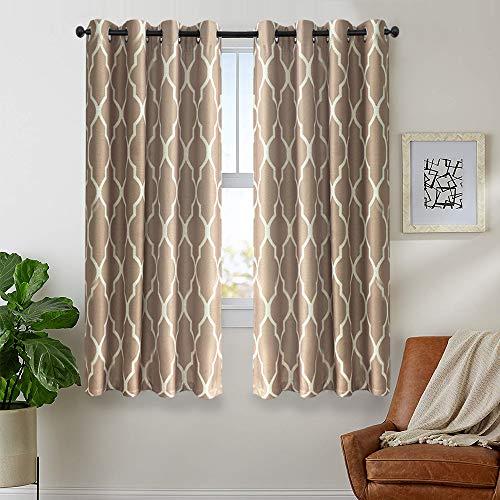 金厂摩洛哥印花窗帘卧室客厅亚麻织地不易保温窗帘护套窗帘72寸2面板黑暗灰褐色