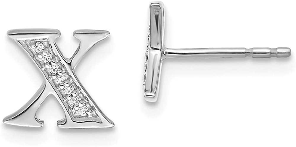 Solid 14k White Gold Diamond Initial Letter X Button Post Studs Earrings - 8mm x 7mm (.042 cttw.)