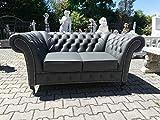 JVmoebel Chesterfield - Sofá de 2 plazas de piel auténtica, color gris