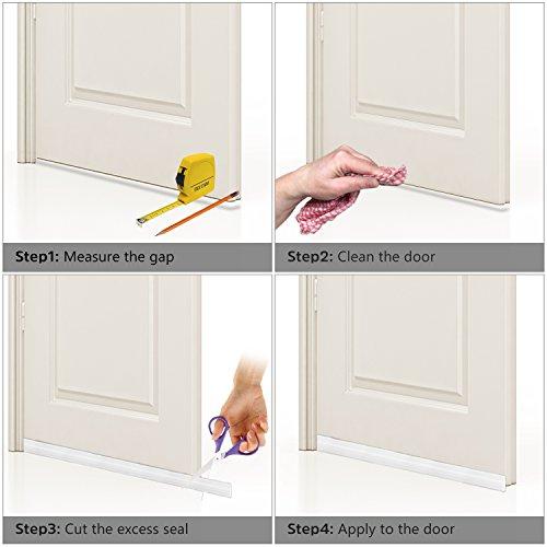 BAINING Door Draft Stopper Door Sweep for Exterior/Interior Doors, Weatherproofing Door Seal Strip Under Door Draft Blocker Seal, Soundproof Door Bottom Weather Stripping, 2