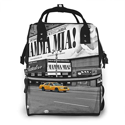 NYC Yellow Cabs Mamma Mia Fashion Diaper Bags Mummy Backpack Multi Functions Waterproof Large Capacity Nappy Bag Nursing Bag for Baby Care for Traveling