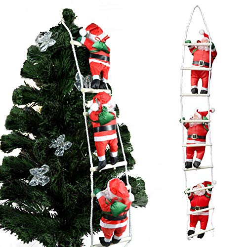 LIVEHITOP Decorazione Natalizia Babbo Natale sulla Scala, Decorazione Albero Natale, per Interni ed Esterni 105cm Pendente della Bambola di Santa