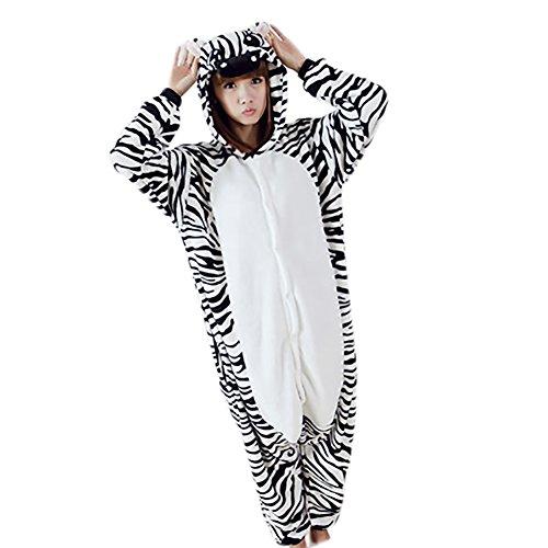 Pijamas Adultos Animales-Disfraz Anime Cosplay Ropa de Dormir Franela Traje Unisex Homewear L Cebra