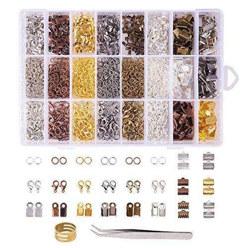 KINDPMA 2416tlg Schmuck Basteln Zubehör Schmuckherstellung Set mit Spaltringe Bandklemme Karabinerverschlüsse Endkappen Schmuckwerkzeug für Ohrringe Armband Halskette Anhänger