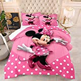 3 Pcs Mickey Minnie Mouse Kids Bedding Set Queen Size, 3D Cartoon Minnie Comforter Set for Girls Toddler Boys Soft Breathable Microfiber Comforter Quilt Bed Set with 2 Pillowcase (M2,Queen(90'x90'))