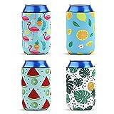 8pzs Enfriador de latas fundas de neopreno para latas de bebidas fundas de neopreno para taza de café piña flamenco limón palma neopreno funda para bebidas funda para cerveza fiestas hawaianas corto