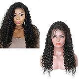 VKHair 26'/65cm Brasileño Virgen Peluca Rizado/Deep Wave 100% Natural Humano Pelo Indetecable Malla Completa/Full Lace Wig Negro 1B