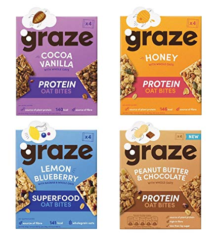 Graze Oat Bites Wow Bakes Nutty Protein Power Variety (Box - Pack of 4)