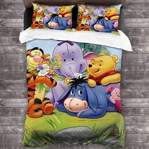 QWAS Winnie The Pooh - Juego de funda de edredón y funda de almohada (3 piezas, 1,220 x 240 cm + 50 x 75 cm x 2 cm), diseño de Winnie the Pooh
