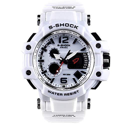 Herren Sportuhren LED Digital 50M wasserdichte beiläufige Uhr S Shock Male Clock Uhr für Mann,White