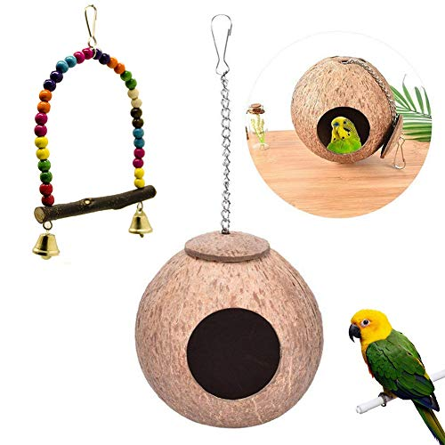 Kacniohen Pájaro del Loro Juguetes, cáscara de Coco de la jerarquía del pájaro, Que cuelga de Bell Bird Cage Columpio de Juguete para los pequeños periquitos, cacatúas, Budgie, agapornis, guacamayos
