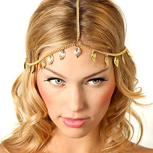 Koehope Haarspeld voor dames en meisjes, vintage, metalen hoofd, ketting, Bohemen, hoofdband, goud, bladeren, kwasten, druppelhanger, cadeau