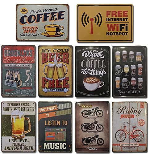 Placas Vintage |. Set de 10 Chapas Decorativas metálicas para pared | Decoración Retro para Salón, Bar, Cafetería, Cocina, Restaurante Oficina | Tamaño 20x30