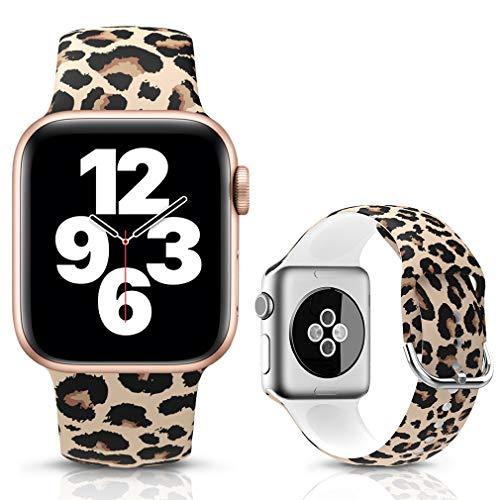 LJLB Sportivo Cinturino Compatibile con Apple Watch Cinturini 42mm 44mm, Cinturino da Polso di Ricambio con Motivo Floreale Stampato in Silicone per iWatch SE Series 6/5/4/3/2/1, S/M Leopard
