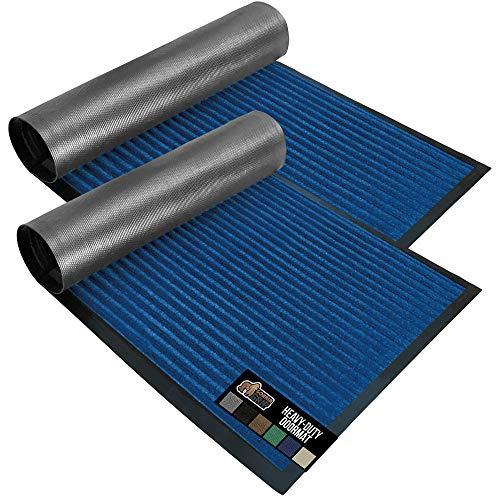 Gorilla Grip Original Low Profile Rubber Door Mat, 29x17, Pack of 2, Durable Doormat for Indoor and Outdoor, Waterproof, Easy Clean, Home Rug Mats for Entry, Patio, High Traffic, Blue