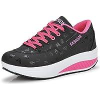 Cuña Plataforma Aptitud Zapatos Mujer Zapatillas de Deporte Casual Correr Sneaker,Negro,EU39=CN40