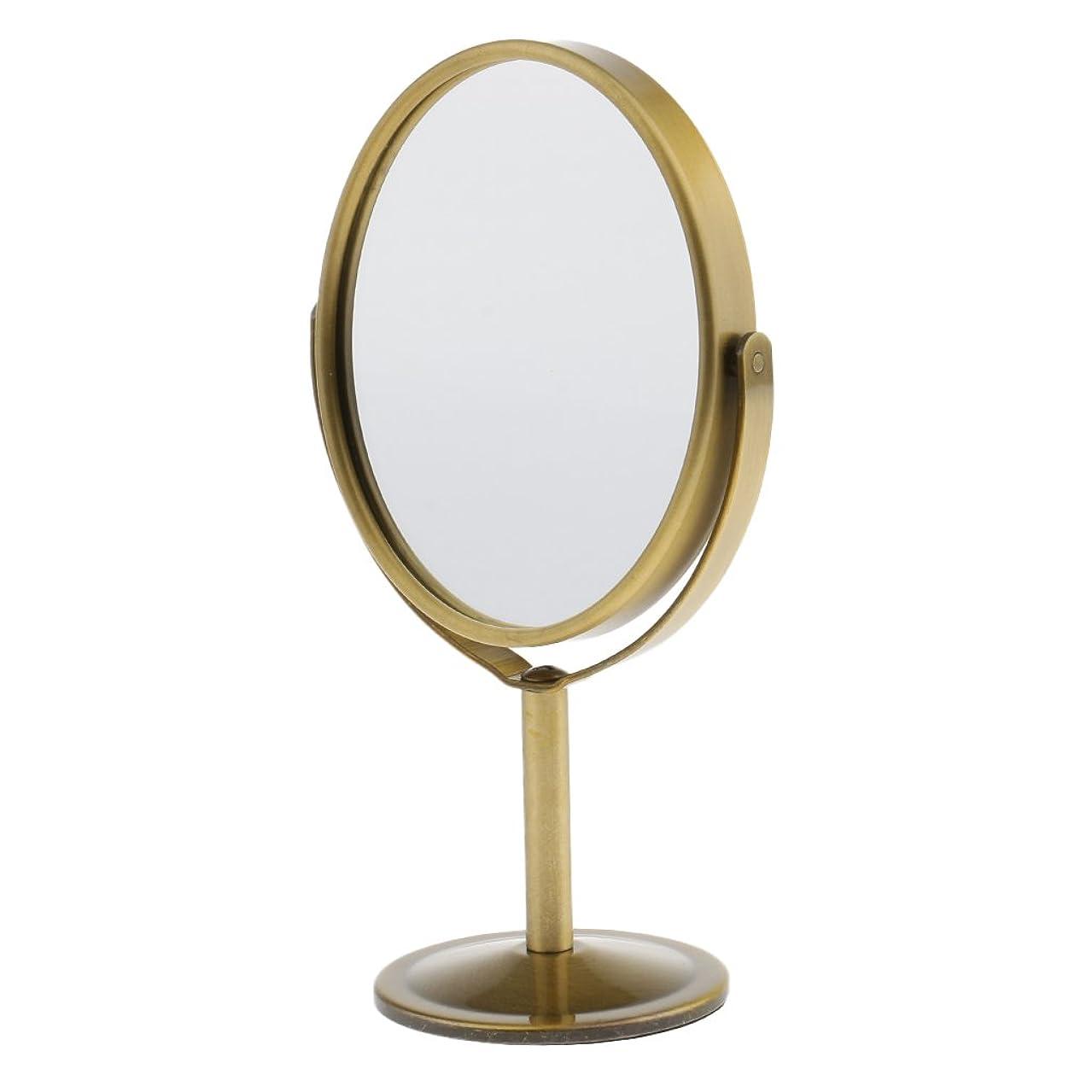 土砲兵青Homyl メイクアップミラー テーブルミラー 化粧鏡 両面 拡大鏡 ミラー 楕円 スタンド 360度回転 便利 プレゼント メイクアップ 2色選べる - ブロンズ
