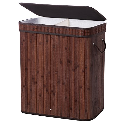 SONGMICS Wäschekorb Bambus Faltbar Wäschebox mit 2 Fächern Wäschetonne mit Herausnehmbaren Wäschesack Tragegriff, Wäschesack aus Baumwolle, 100 L, rechteckig, Braun LCB62Z