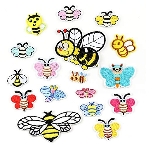 Iron on Patches Embroidery Applique Suitable for Hats, Jackets, Coats, T-Shirts, Jeans, Shoes, bee Dragonfly 17pcs