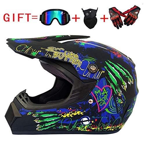 ZXDHELMET Erwachsene Motorradhelm Und Erwachsene MX Motocross ATV Scooter Helm D. O. T Zertifiziert Multicolor Mit Brillen Handschuhe Maske,B,L58~59CM