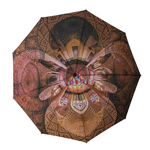 BALEH paraplu zakparaplu | Perzisch architectuur-kunstmotief | klein, licht, windbestendig, teflon coating, | automatisch uitschakelen | 9 ribs