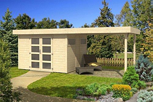 Gartenhaus G120 inkl. Fußboden - 19 mm Elementhaus, Grundfläche: 14,83 m², Flachdach