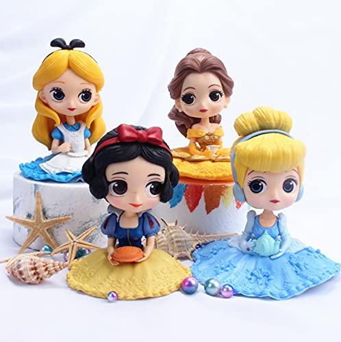 4 Piezas 6-9 Cm Princesa Blancanieves Belle Cenicienta Sirena Alice Bella Durmiente Frozen Elsa Anna PVC Figura De Acción Modelo Juguetes Muñecas