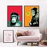 KWzEQ Cartoon Orang-Utan AFFE Leinwand Malerei Tierkunst Gorilla Drucke und Poster Wohnzimmer Wanddekoration,50X75cmmx2,Rahmenlose Malerei