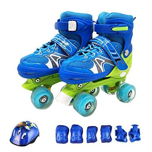 Inline skates Kinderen Rolschaatsen Voor 2-in-1 Quad Skates Verstelbare rolschaatsen Dames Meisjes Peuters Jeugd 12-4 jaar Set Verjaardagscadeaus, Blauw-S (26-32) Code