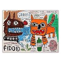 bdkym ジャンミシェルバスキア「動物と鳥」抽象落書きキャンバス油絵アートワークポスター壁アート美的家の装飾-60X80Cmx1フレームなし