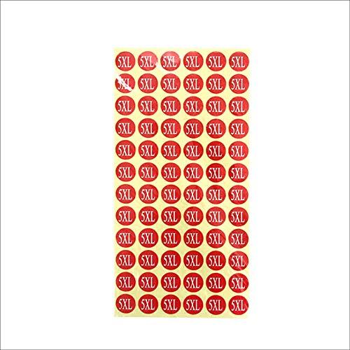 サイズシール 5XL サイズ 業務用 大きさ=直径1.4cm 赤地に白文字 1シートに72枚のシールが15シート(1080枚分)入り 仕分け 梱包 ラベル 服 表示 アパレル サイズ表示 size フリマ ラクマ イベント アパレル 店舗出店 在庫管理 デ