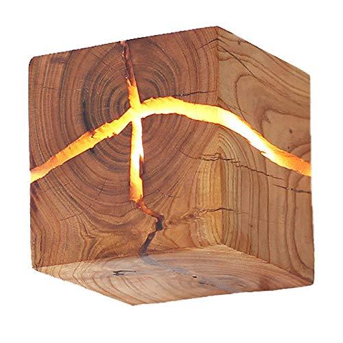 HOIHO Hölzerne Riss Wand Lampen, 5W Kreativ Wandleuchte Klein Nachtlicht Holz Riss Wandlampe LED Nachttischlampe