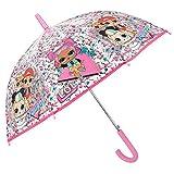 LOL Surprise Ombrello Trasparente Rosa da Bambina con MC Swag VRQT 80s BB - Ombrello Automatico Lungo a Cupola Antivento Resistente - Confetti Pop Accessorio Bimba 4/6 Anni - Diametro 74 cm - Perletti