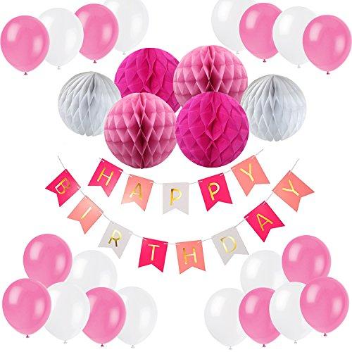 Recosis Geburtstag Dekoration, Happy Birthday Girlande mit Luftballons Latexballons und Wabenbälle Papier für Geburtstag Dekoration - Rosa