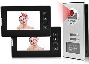 Videoportero con 2 monitores, sistema de videoportero Interfono Timbre con cámara de visión nocturna para 1/2 casa familiar