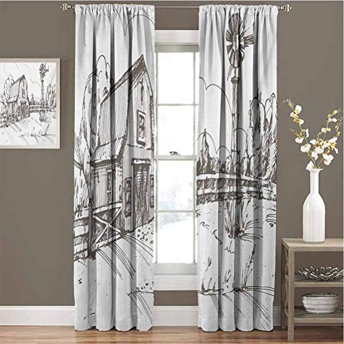 Windmill All Season Insulation Rustic Barn Farmhouse Hand Drawn Illustration Countryside Rural Meadow Noise Reduction Curtain Panel Living Room W96 x L84 Inch Dark Brown and White