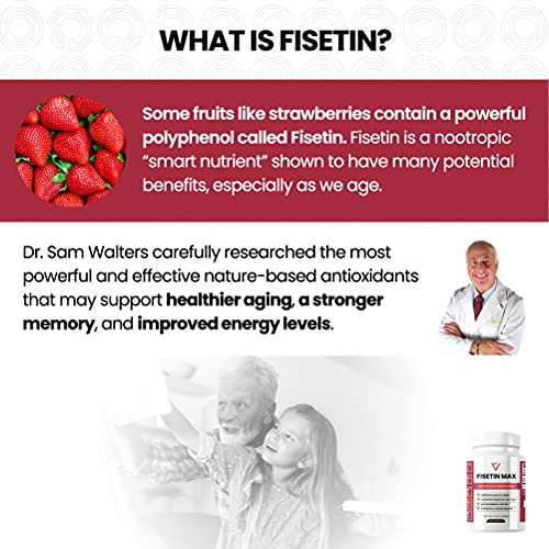 51QAXQDDMkS. SL500  - Fisetin Max | Nootropic Anti-Aging Supplement - Doctor Approved Antioxidant Support for Healthy Aging, Better Brain Health, Improved Energy Levels, and Maintaining Strong Memory* - 30-Day Supply