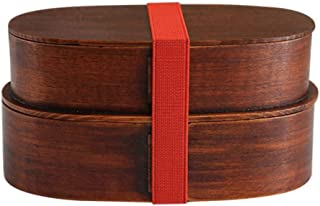 Lunch Box Wooden Double-Layer Sushi Box Picnic Box Portable Fruit Snack Box (Color : Brown)