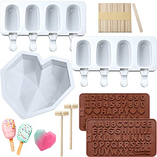 Diamond Heart Silicone Cake Mold Trays 8.7 Inch with 2 Pieces Wooden Hammers, 2 Pieces Silicone Popsicle Molds 4 Cavities Ice Pop Molds with 50 Pieces Wooden Sticks and 2 Pieces Chocolate Molds