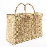 Blue Omnia, Cesta para mujer, cesta para el mercado o la playa, cesta de mimbre trenzada, cesta de la compra, cesta ibicena, cesta de la compra, cesta de algas marinas, bolsa de paja
