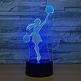3D Illusion Óptico Lámpara Aerobic Forma Led Luz De Noche, Lámpara De Mesa Touch Romántico Vacaciones De 7 Colores Cambio De Navidad Regalo De Fiesta
