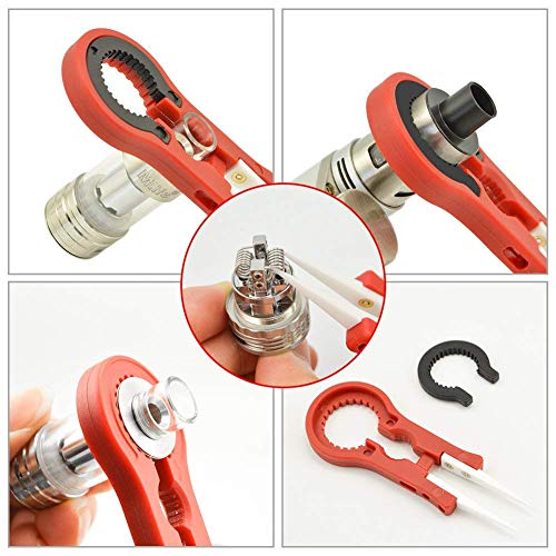 Electronic Cigarette Accessories Metal Spudger Coil Brush 1.5mm-3.5mm Winder Ceramic Tweezers, Heat Resistant Anti