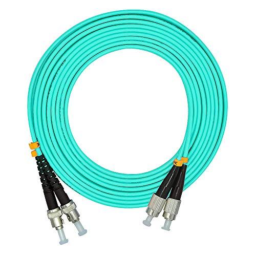 Jeirdus 1Meter 3ft FC to ST Duplex 50/125 10G OM3 Multi-Mode Fiber Optic Cable Jumper Optical Patch Cord FC-ST