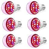 Olafus 6 Pack Lámpara de Plantas Bombillas LED E27 7W, Grow Light Iluminación para Plantas Cultivo con Espectro Completo Estimula la Germinación y la Floración para Flores Hortalizas