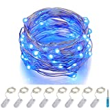 ITART Micro LED Blue String Lights 8 Packs Fairy Lights Battery Operated 6ft 20 LED Ultra Thin Silver Wire Waterproof for Costume Craft Party Clothes Jellyfish Halloween